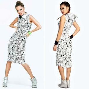 NEW Boohoo Splatter Print Bodycon Hooded Dress